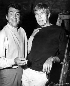 Dean Martin plays host to James Coburn on the set of Murderers´ Row, 1966.