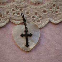 Mother-of-Pearl Heart with Cross Pendant