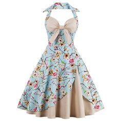 Elegant Retro Patchwork Blue Floral Vintage Spaghetti Strap Dress (2.010 RUB) ❤ liked on Polyvore featuring dresses, floral print dress, floral dresses, blue floral dress, a line dress and floral summer dresses