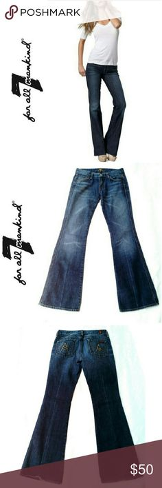 "7 FOR ALL MANKIND  J DAHAN  BOOTCUT 7 FOR ALL MANKIND BOOT CUT JEANS by JEROME DAHAN Pre-Loved / Image for Similarity /EUC *.  Excellent Condition *.  100% Cotton *.  Size 27 *.  Approx Inseam Meas. 31"" Style U130061U 7 For All Mankind Pants Boot Cut & Flare"
