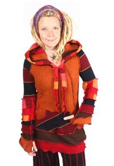 """Kinvara is an enchanting tunic sweater with vexing diagonal stripes in flaming hues. Bust: 42"""" Length: 33""""  Size: XL"""
