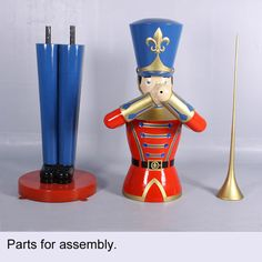 "Huge nine foot Toy Soldier with Tumpet.  It is made of durable, chip resistant fiberglass construction. Suitable for commercial or residential use indoors or outdoors. #storedisplay #holidaydisplay #toysoldier Dimensions L 71.5"" (including Trumpet) W32.25"" H108"" Weight 109 lbs. Material Fiberglass construction Mounting plates Some assembly required"