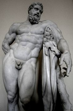 The Farnese Hercules is an ancient sculpture, probably an enlarged copy made in the early third century AD and signed by a certain Glykon, from an original by Lysippos that would have been made in the fourth century BD. The copy was made for the Baths of Caracalla in Rome (216 AD)