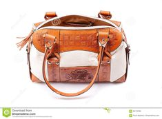 c81248fd43 Leather female bag on a white background. Photo about leather