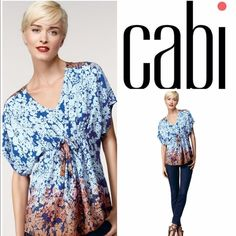 💟Cabi Boho hippie tunic top,ombre,blue, peach, Sm CAbi hippie tunic flowery blouse, blue and peach. Ombre look. Gorgeous lightweight shirt, perfect for spring, summer and fall. Wear w/jeans or nice dress pants or shorts. Size Small. Soft and comfortable yet full of style and color. Get it today! Bundle with other items to get a great discount. CAbi Tops Tunics