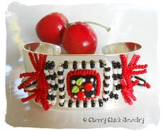 Cherry Bracelet Cuff... hand beaded