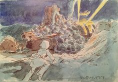 Images Drawn for the Nausicaa Motion Picture ===== Released March 1984 - image boards, tapestries drawn for the opening, etc ===== Notes: Looking down on Pejite, which survives parasitically off of a spaceship, from the crater rim
