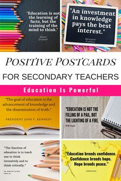 Sending positive postcards home is a quick way to build positive relationships with your students and parents that they will remember, but doesn't take too much time - because I know as a middle or high school teacher you have over 150 students! Teacher Education, School Teacher, Education Quotes, Secondary Resources, Secondary Teacher, High School Subjects, Teacher Newsletter, Postcards