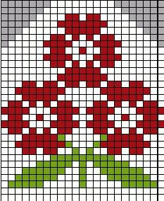 triple flower                                                       … Fair Isle Knitting Patterns, Knitting Charts, Knitting Stitches, Embroidery Stitches, Beaded Cross Stitch, Cross Stitch Flowers, Cross Stitch Charts, Cross Stitch Patterns, Mittens Pattern