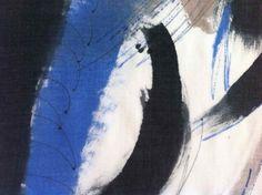 Dionne Swift : Blue Landscape Scarf (a)Unique hand painted, fine wool scarf 195 x 45 cm - mark making detail