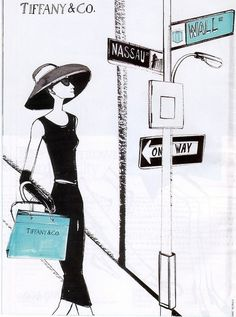 Shopping Girl Illustration - Tiffany & Co. turquoise & black