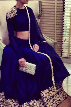 Blue & Gold Asian Indian Fashion