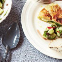 Spinach and feta filo pie with coated ice cream meal- 30 minutes meal by Jamie Oliver