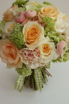 peach, sage green, and cream weddings | ... wedding bouquet designs please see our wedding bouquet gallery
