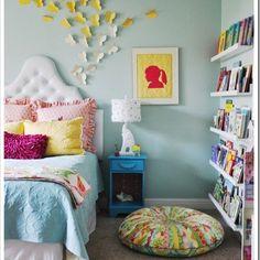 Beautiful girls room. Love blue and yellow