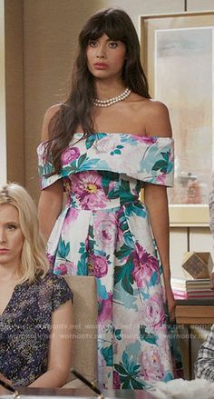Tahani's floral off-shoulder dress on The Good Place. Outfit Details: https://wornontv.net/64266/ #TheGoodPlace
