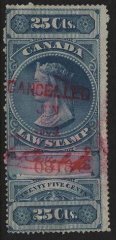 Collecters Item: Canada Revenue Vandam # Blue Supreme Court Of 1876 - Financializer Store Egg Crates, Oil Lamps, Supreme Court, Rare Antique, Canada, Hand Painted, Antiques, Stamps, Blue