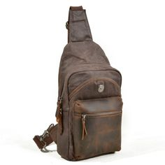 Vintage Genuine Leather Canvas Waterproof Outdoor Casual Sling Bag Chest Bag Crossbody Bag For Men is hot-sale, many other cheap crossbody bags on sale for men are provided on NewChic. Cheap Crossbody Bags, Canvas Crossbody Bag, Small Crossbody Bag, Shoulder Sling, Shoulder Bag, Sling Backpack, Sling Bags, Waist Pack, Waxed Canvas