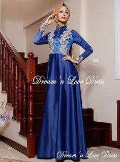 MZY504 long sleeve high neck hijab button lace floor length muslim blue and red muslim evening dress hafiza <3 AliExpress Affiliate's Pin.  Find similar products on AliExpress website by clicking the VISIT button