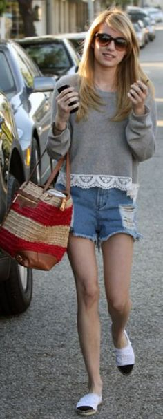 Who made Emma Roberts' straw stripe handbag, denim cut off shorts, sunglasses, and lace gray sweater?