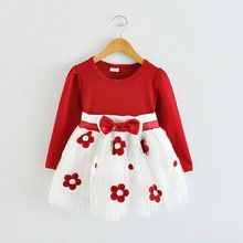 2015 spring autumn new born infant cotton dress for baby girls clothing long-sleeve princess party dresses tutu dress vestidos(China (Mainland))