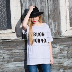 Oversize Off Shoulder T-shirt - Buon Giorno - Fashion Trendy Hipster Tshirt with a wide cut neck - Street Style Tee