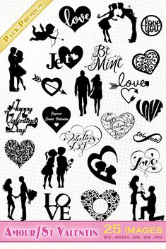 Saint Valentin/Amour/Coeurs/Couples/Cupidon - Fichiers SVG DXF EPS SILHOUETTE STUDIO PNG
