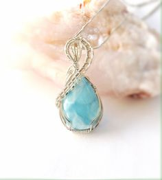 Larimar Cabochon Wrapped Pendant Sterling by desertshinejewelry