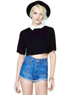 a4f3ccd070e58 2014 New Fashion School Style Summer Casual Short T-shirt Women Short Sleeve  Black White Crop Top Plus Size LD0711 T-shirt Skin T-shirt Western T-shirt  2013 ...
