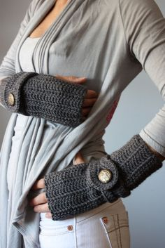 Urban crochet finger less gloves Charcoal Grey | Flickr - Photo Sharing!