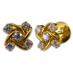 Simple five diamond gold earring for everyday wear