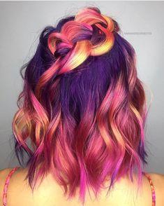 Pretty Hair Color, Beautiful Hair Color, Pulp Riot Hair Color, Sunset Hair, Hair Dye Colors, Hair Colour, Mermaid Hair, Rainbow Hair, Love Hair