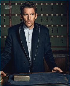 Ethan Hawke wears a Dolce & Gabbana jacket with an Orley suit for Icon El País.