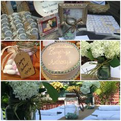 Garden party style bridal shower. Mason jar theme. Colors: Green, purple and brown.