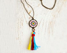 Tassel necklace with bright ethnic cross stitch n019 by skrynka