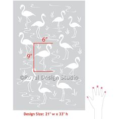 Pink Flamingo Lagoon Wall Stencils for DIY Home Decorating - Royal Design Studio