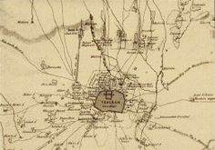 """Qajar Era - Map of the city of Tehran with all outer districts and the old mud-walled centre from the time of Nasser od-Din Shah. Far right the """"Jagd Schloss Toschán tappe"""" that is Doshan-Teppeh."""