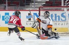 Sutter scores a goal in the Mini Hawks 1-on-1 Tournament. #Blackhawks
