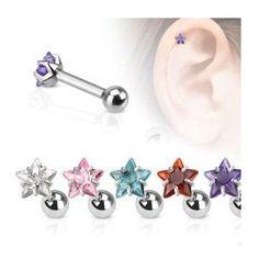 Prong Set Star Cartilage Upper Ear Stud Earring Helix Bar x Tragus Piercings, Cartilage Stud, Cartilage Earrings, Stud Earrings, Body Piercing, Barbell Earrings, Ear Studs, Body Jewelry, Jewellery