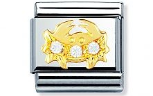 Nomination stainless steel with 18ct gold and Cubic Zirconia Cancer Charm