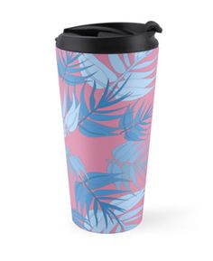 Art fot travelers. Funky pink and blue foliage travel mug. Striking, exiting, out of the box, daring and colorful botanical print. High quality product designed by independent artist. Perfect gift for her.#ArtForTravelers