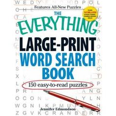 The Everything Large-Print Word Search Book: Easy-to-Read Puzzles (Everything Series) New Puzzle, Puzzle Books, E Words, Color Activities, Large Prints, Word Search, Everything, Fiction, Novels