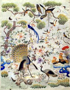 ♒ Enchanting Embroidery ♒ embroidered chinoiserie with cranes and peacock