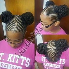 Two cornrows puffs done with kinky extensions