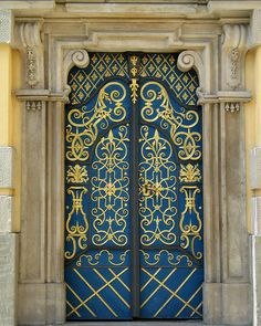 567ab1950a Blue And Gold Doors In Wroclaw Poland by Greg Matchick