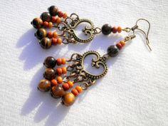 Tiger Eye Heart Earrings from juta ehted - my jewelry shop by DaWanda.com