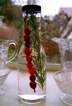 Holiday Cranberry Rosemary Vinegar - This looks so simple to do & what a beautiful favor or Christmas gift it would make.