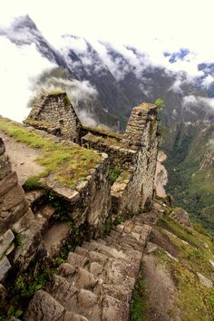 The stairs leading down from the temple on top of Huayna Picchu (Wayna Pikchu) built by the Incas between At metres the stairs go all the way down to the Urubamba River below. Machu Picchu, Huayna Picchu, Inca Empire, Ecuador, Peru Travel, Ancient Ruins, Adventure Tours, Ancient Architecture, Ancient Civilizations