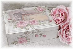 Romantic Chic Keepsake Box w/Vintage Images & HP Roses -- Mixed Media Art