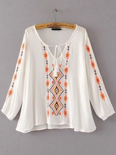 8807d94385b7d Aelegantmis White Geometric Ethnic Embroidery Blouse Women Loose Casual  Bohemia Shirt Embroidered Ladies Tops V Neck